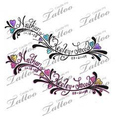 Tattoo with children's names | kids names #31199 | CreateMyTattoo.com