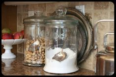 cottag, kitchen storage, apothecary jars, glasses, silver trays