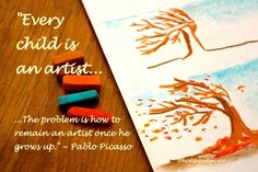 """""""Every child is an artist. The problem is how to remain an artist once he grows up."""" ~ Pablo Picasso This is one of my absolute favorite pastels! The lines are simple; the flow of the bending tree limbs is instantly recognizable to the viewer. You can draw this picture on any size of paper;"""