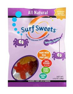 Surf Sweets Spooky Spider gummy candies are made in a nut-free facility. They are also dairy-free and gluten-free, and free of artificial colors and flavors. Plus, each sale of Spooky Spider gummies benefits the Eco-Mom Alliance.