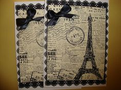 2+Paris+Eiffel+Tower+hand+stamped+cards+by+jessicasue34+on+Etsy,+$7.00