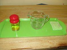 water, salt shakers, montessori practic, practical life, shelves, diaries, children, practic life, salts