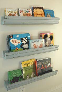 wooden gutter bookshelves for Charlotte's books.  We got the wooden gutters from our NJ 1840 home