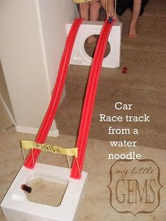 Using pool noodles.
