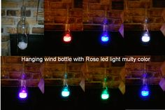 Hanging wind bottle with Rose led light multy color