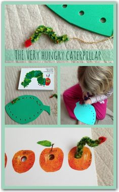 Threading activities to go with The Very Hungry Caterpillar by Eric Carle. Great for fine motor and pre writing development for ages four and up!