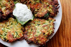 Zucchini, Feta, and Green Onion Fritters with Yogurt-Herb-Lemon Dip. Photo: Wendy Goodfriend