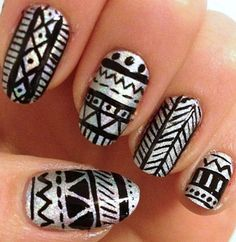 tribal holographic nail art. Love love love any kind of tribal/aztec design.