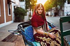 Monisha Jaising Vogue Red marroon velvet Lengha
