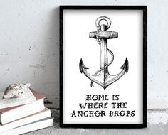 Home is where the anchor drops - Ink and  watercolor illustration