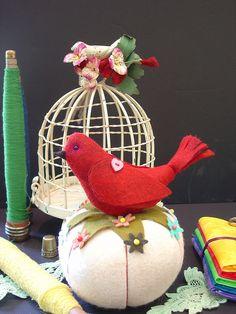 red bird wool felt-pincushion peddler by bearseg, via Flickr