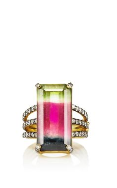 One Of A Kind Emerald Cut Tourmaline Ring With Triple Pave Diamond Band by Jemma Wynne - Moda Operandi