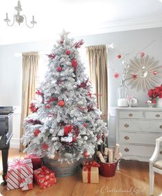 red & white tree