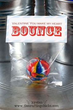 So simple! Handmade Valentines you make with a rubber ball -- and they're candy-free! http://thestir.cafemom.com/big_kid/167155/9_creative_diy_valentines_for/113004/you_make_my_heart_bounce?slideid=113004?utm_medium=sm&utm_source=pinterest&utm_content=thestir