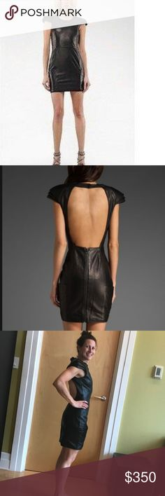 Mackage Open Back Leather Blair Dress - NWT Mackage 100% genuine leather open back Blair dress. Pleated sleeve detail. One-of-a-kind piece - sold out everywhere. Originally purchased for $850 - never been worn. Yours for only $350. Size Zero (O)  Perfect for holiday. Mackage Other