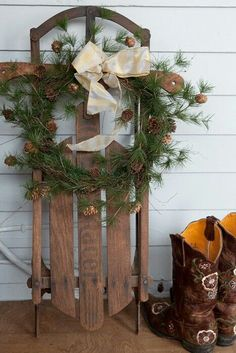 Another idea for my childhood sled decoration . . . and I'll add my own red cowboy boots!