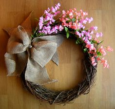 Spring Wreath with Pink & Peach Flowers and Burlap Bow