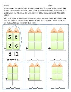 Two digit adding with regrouping worksheets. I believe you could alter these as well to teach subtraction.