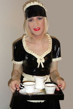 Sissy Maid Alice in latex serving tea