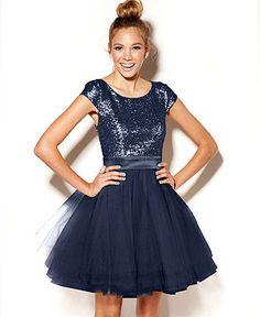 Trixxi Juniors Dress, Cap Sleeve Sequin Tulle - Juniors Homecoming Dresses - Macy's
