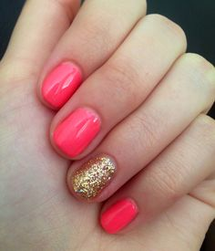 Coral and gold nails <3