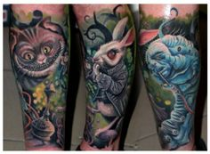colorful Alice in Wonderland characters tattoo by CSABA MÜLLNER  cheshire cat rabbit