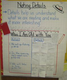 "Noting Details anchor chart.  Each student got to be a reporter and look for details in the story that they could write on their own ""reporter's notebook"" paper."