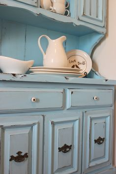I love this hutch painted in robin's egg blue!