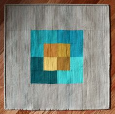 A Quilter's Table: Colour Study in Teal and Gold; pattern by she can quilt