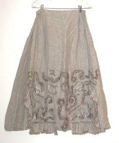 Krista Larson Natural Linen Soutache Skirt | eBay