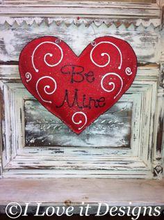 Be Mine Valentine Burlap Door Hanger by ILoveItDesigns on Etsy, $30.00