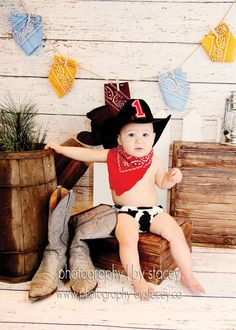 Baby Boy / Toddler Party Set in Cow Hide Red Bandana and Cowboy Hat Cake Smash outfit. $46.85, via Etsy.