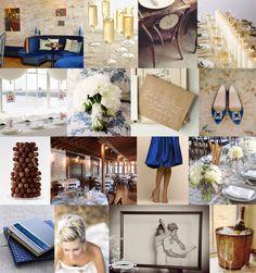 champagne, royal blue, chocolate, cream