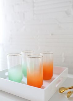 Ombre Glassware from Etsy.  Link shows you how to transform Ikea cube shelf into bar cart.