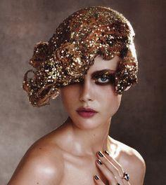 x vogue, fashion, makeup, frida gustavsson, glitter hair, inspir, party hairstyles, gold, patrick demarchelier