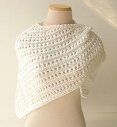 Knit Lace Shawl in White/  Wedding Bridesmaids by WindyCityKnits #wedding #shawl #lace #fashion