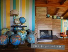 I love the striped wall with white lines to break up the colors.