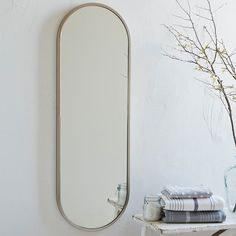 Metal Oval Floor Mirror   West Elm
