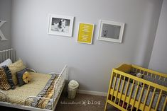 So cute - yellow and gray for a shared boys and girls room. ruffl, bed, yellow crib, nurseri