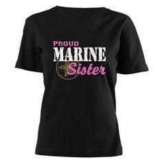 Proud Marine Sister Women's V-Neck Dark T-Shirt- to wear at Cody's graduation!