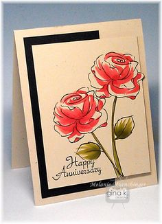 Coloring Tutorial: A Year of Flowers 2 and All Occasions Tags 2 stamp sets from Gina K Designs. Happy Anniversary card by Melanie Muenchinger.