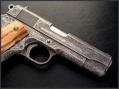 Colt 1911 Combat Commander Pistol  Dennis Reigel Gun Engraving
