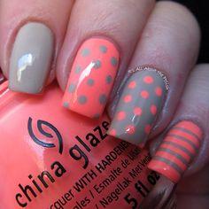 Nail Design. Nail art. Creative. Nails. Polish. China Glaze. Gray, orange, polka dots, stripes. Romantic. Beautiful!