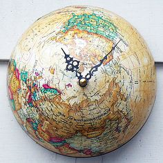 """Changing the World"" = Lot's of neat ideas to re-purpose an old Globe!   http://tparty.typepad.com/the_tcozy/2012/04/changing-the-world.html#"