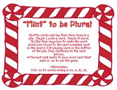 Free! Mint to be Plural! board game on plural endings (s and es).