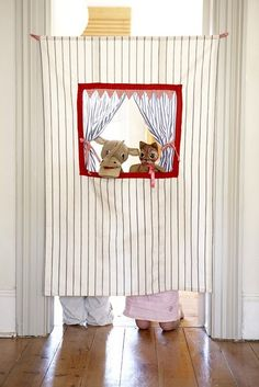 Doorway puppet curtain rods, puppet, playroom, theatr, tension rods, bed sheets, sew projects, door frames, kid