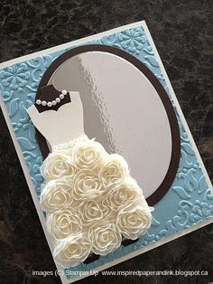 Inspired Paper and Ink, Stampin Up card using Dress Up framelits, Ovals Collection framelits and Vintage Wallpaper folder.  Love this card