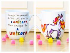 Always Be a Unicorn Funny Quote Mug - Hand Painted Coffee Mug - Etsy