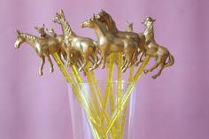 Fancy Pony or Horse Gold Animal Drink Stirrers, Swizzle Stick, Cocktail Stirrer - Set of 10