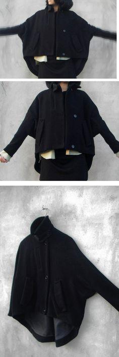 winter coat black cape Wool Cape Cashmere coat